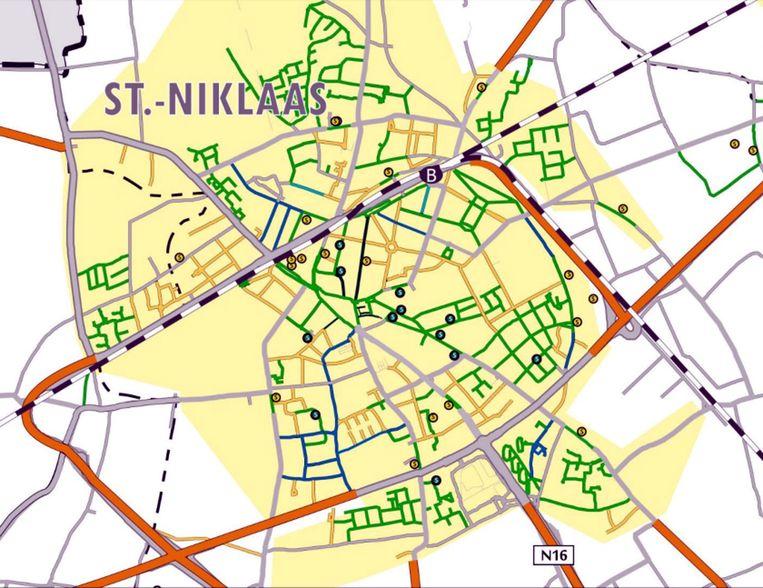 De Sint-Niklase binnenstad, met in het groen de straten waar nu al zone 30 geldt. In het geel de straten waar zone 30 wordt ingevoerd. De paar straten in het blauw worden zone 30 na aanpassingen. De straten in het grijs hebben vooral een verkeersfunctie en worden zone 50. In het oranje geldt 70 km/u.