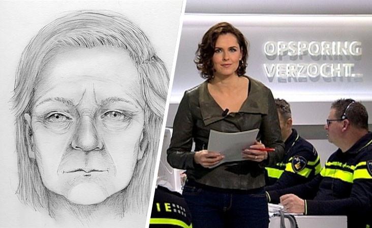 Post-mortem tekening van de vrouw. Rechts: still uit Opsporing Verzocht.