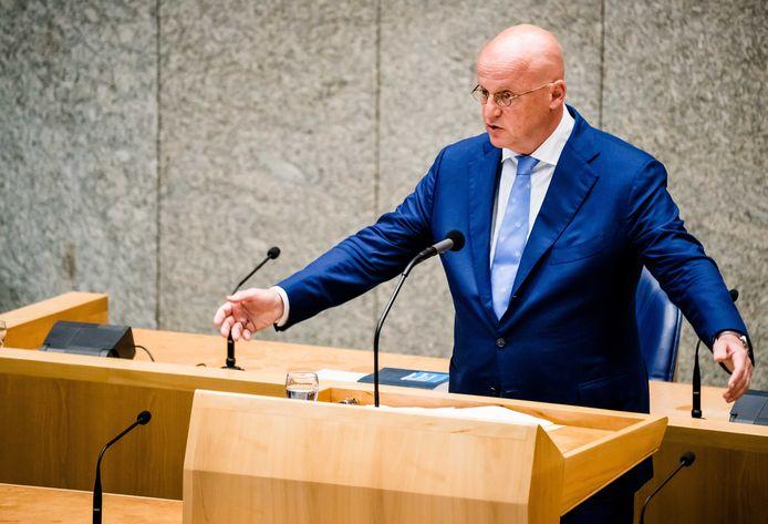 Minister Grapperhaus van Justitie en Veiligheid (CDA) in de Tweede Kamer.