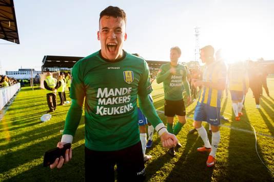 Etienne Vaessen na de promotie van RKC naar de eredivisie na een spektakelstuk zonder weerga in Deventer.
