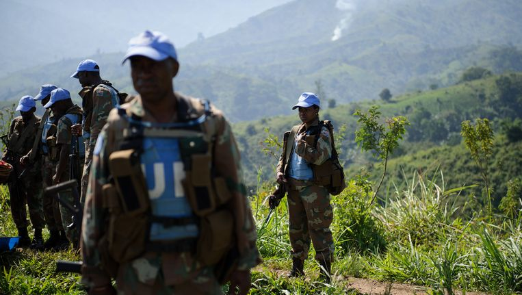 Archieffoto. Zuid-Afrikaanse VN blauwhelmen van de Monusco vredesmissie
