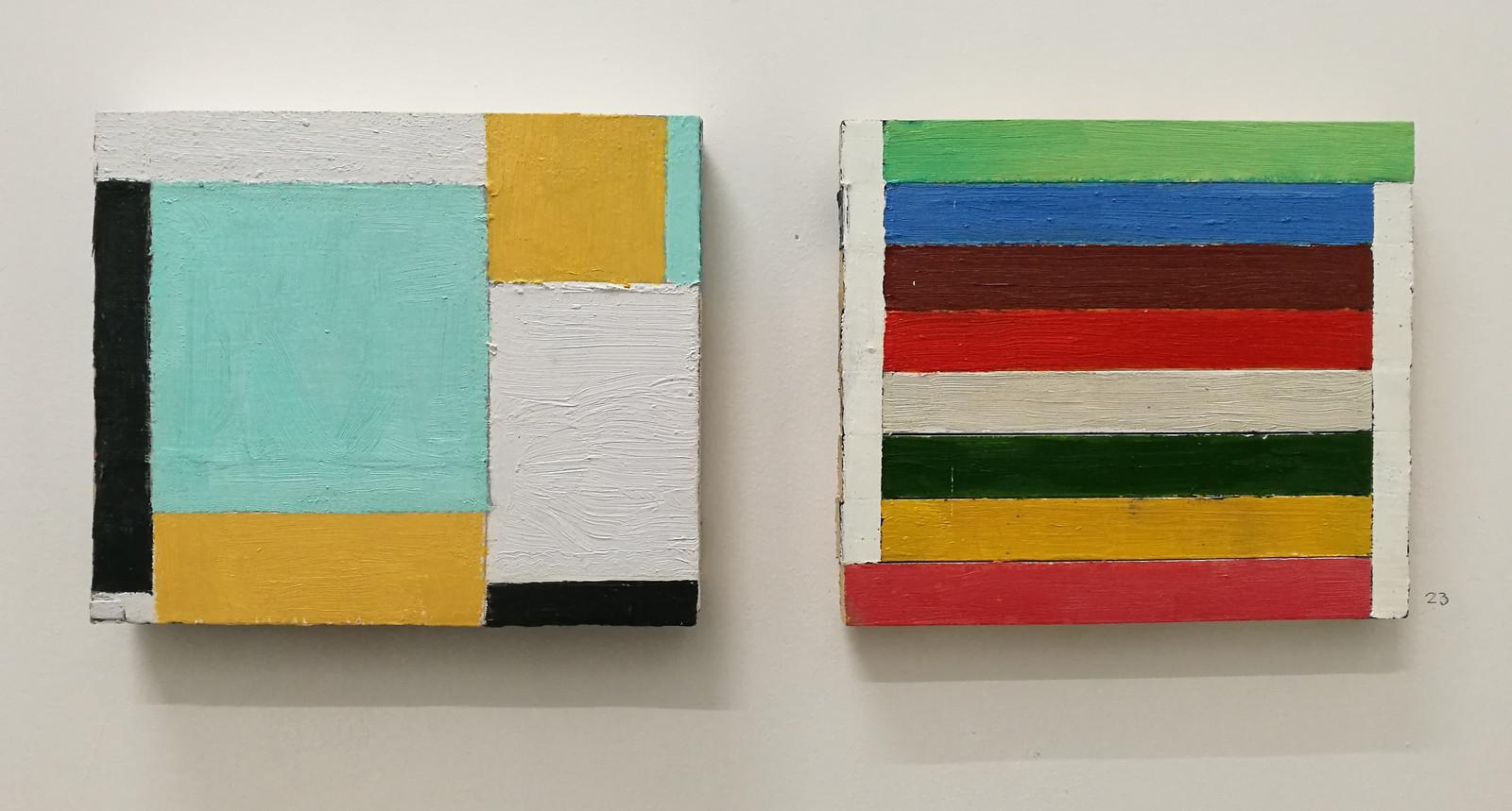 Twee panelen van Dave Meijer. In zijn werk is de werkelijkheid niet herkenbaar.