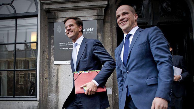 VVD-leider Mark Rutte en PvdA-leider Diederik Samsom. Beeld EPA