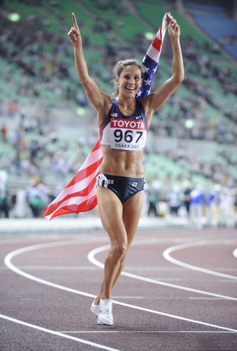 Kara Goucher na haar derde plek in de WK-finale van 2007 op de 10.000 meter. Beeld AFP