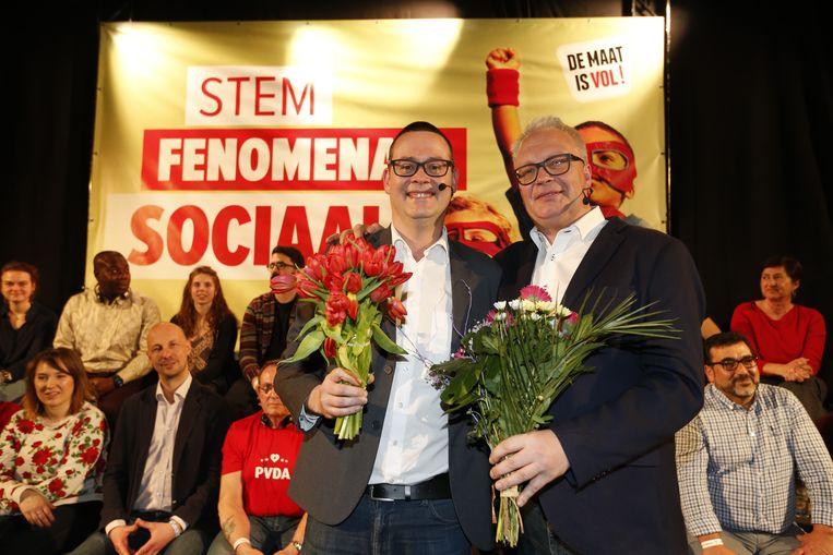 Raoul Hedebouw en Peter Mertens tijdens de voorstelling van het PVDA-programma.