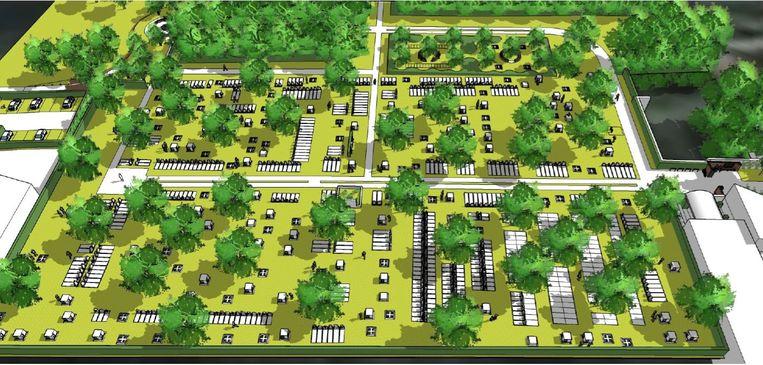 Een blik op de begraafplaats zoals die er in 2065 moet uitzien.
