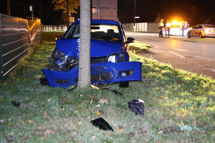 RIJSSEN - Op de Reggesingel (N350) in Rijssen is in de nacht van donderdag op vrijdag een auto van de weg geraakt en frontaal tegen een boom gebotst.
