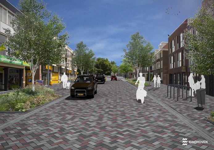 Een impressie van de gemeente Eindhoven van de nieuwe inrichting van de Geldropseweg.