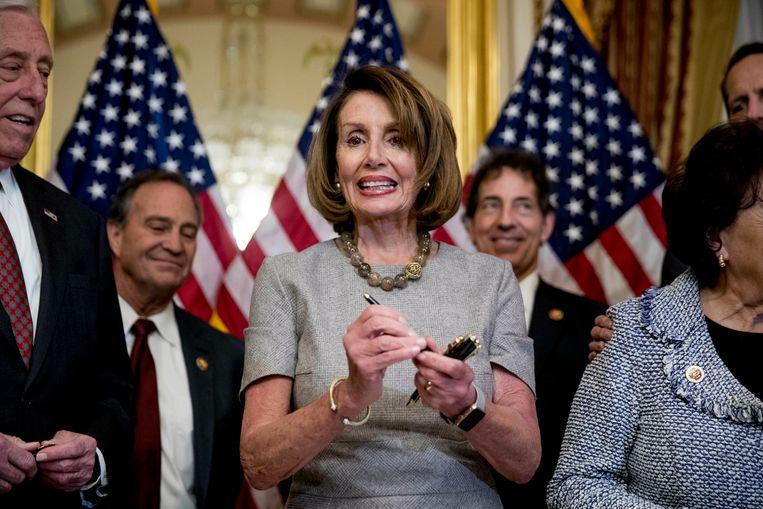 Nancy Pelosi bij het opheffen van de shutdown. Beeld null