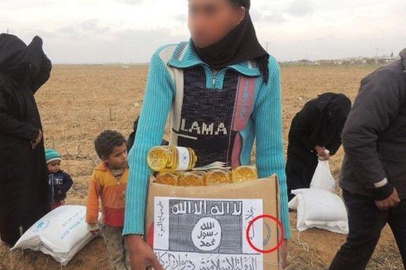 Achter het logo van IS prijkt het blauwe VN-logo.