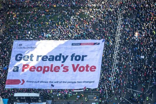 Demonstranten eisen een nieuw referendum.