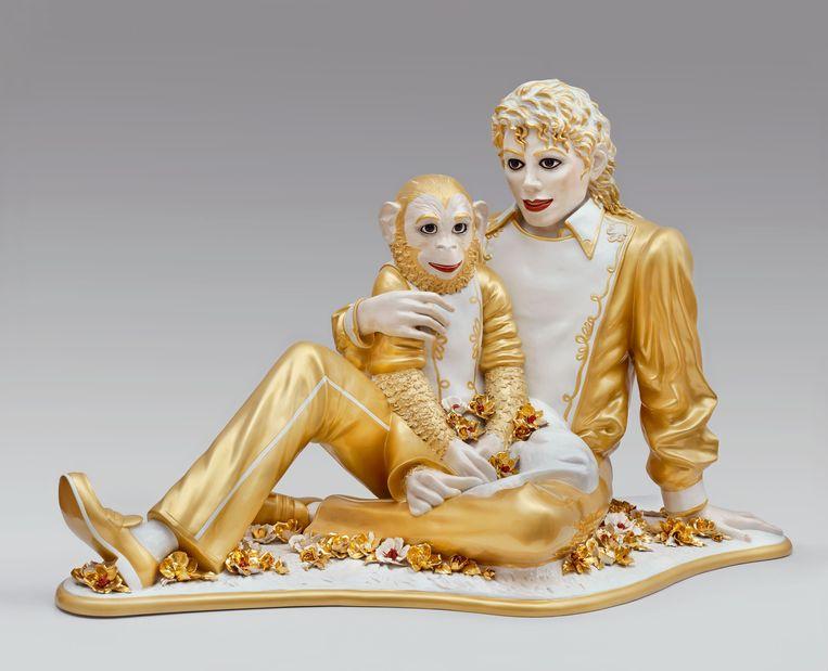 Een van de drie beelden van Michael Jackson en Bubbles die de Amerikaanse kunstenaar Jeff Koons in de jaren '80 maakte. Beeld ap