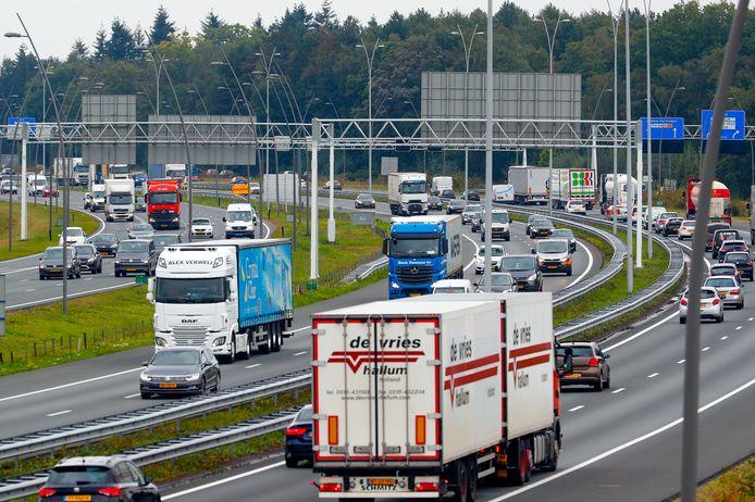 Drukte op de N2 en A2 bij Eindhoven.