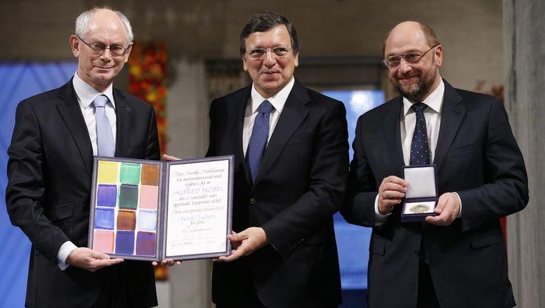 President Herman van Rompuy van de Europese Raad, José Manuel Barroso van de Europese Commissie en Martin Schulz van het Europees Parlement. Beeld afp