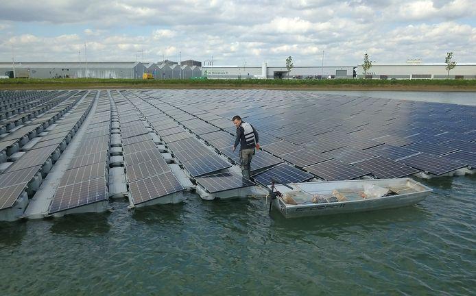 Een deel van de zonnepanelen komt wellicht op het water, zoals hier in Lichtenvoorde, te liggen.