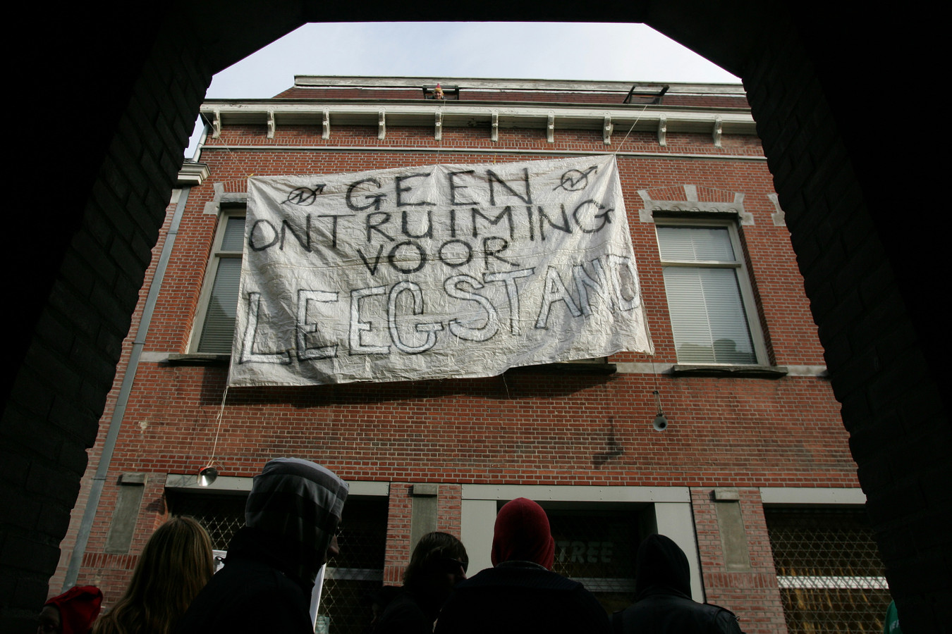 Actie bij en kraakpand in de Catharinastraat, in 2008.