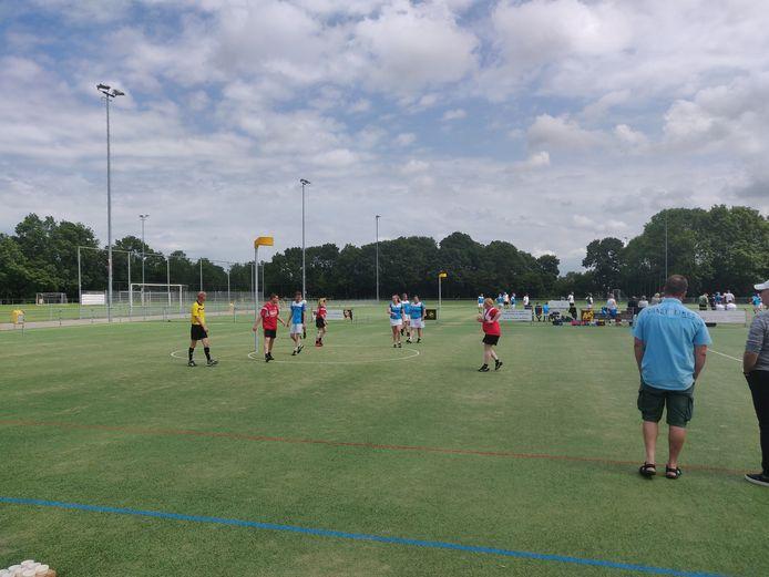 Huidig korfbalveld van natuurgras van de Breskense Korfbal Club (BKC).