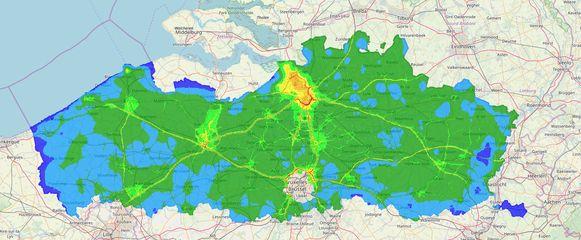 De uitstoot van stikfstofdioxide in Vlaanderen.