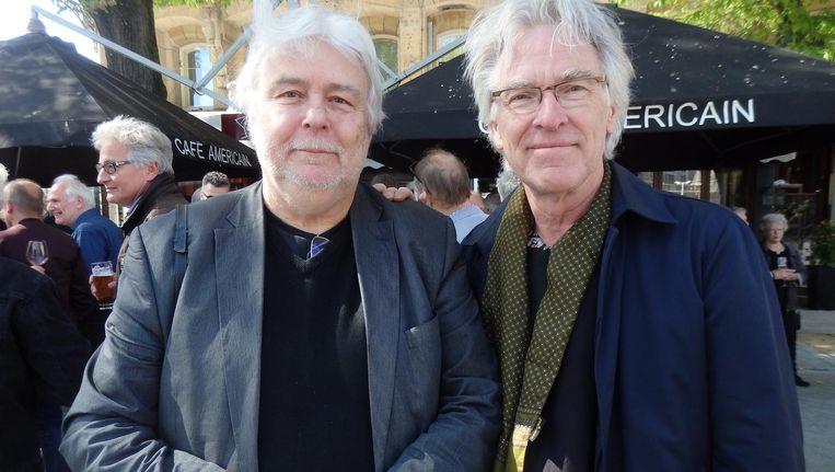 Oprichter Barend Toet en hoofdredacteur Constant Meijers van Muziekkrant Oor. En Hitkrant en de Nederlandse Popencyclopedie. 'Ja, hier staat popgeschiedenis' Beeld Schuim