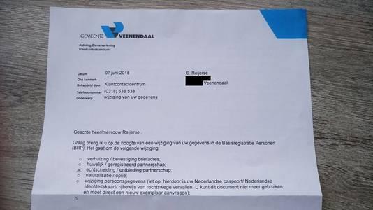 De brief waarin Sander Reijerse werd meegedeeld dat hij gescheiden is.