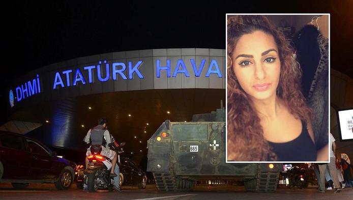Een tank voor vliegveld Atatürk in Istanboel, gisteren tijdens de couppoging in Turkije. Inzetje: Tara Sharawi.