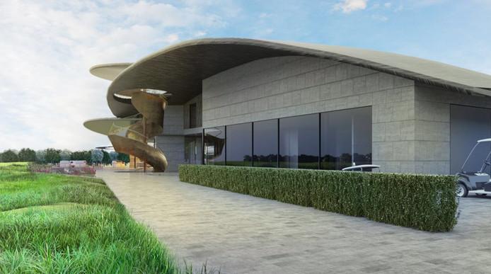 Een impressie van het clubhuis van de nieuwe golfbaan.
