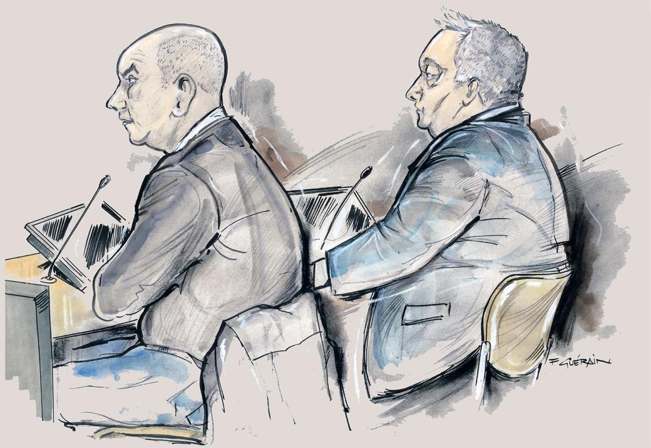 Een tekening van de rechtszaak tegen de broers Den B. uit Epe.
