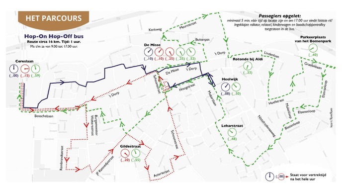 De nieuwe route van de Hop-On Hop-Off bus in Heesch.