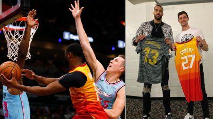 """Courtois ruilt shirts met Franse NBA-ster: """"Ik voel me klein naast hem"""""""