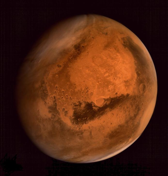 De planeet Mars, gezien vanuit ruimtevaartuig Mars Orbiter Mission (MOM in 2014.
