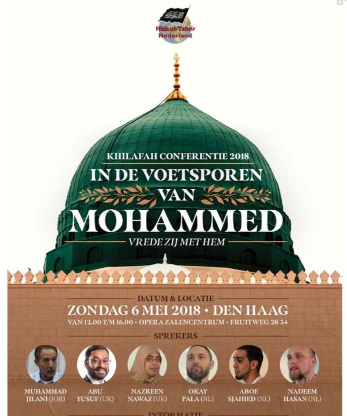 De poster met de aankondiging van de conferentie zondag in Den Haag.