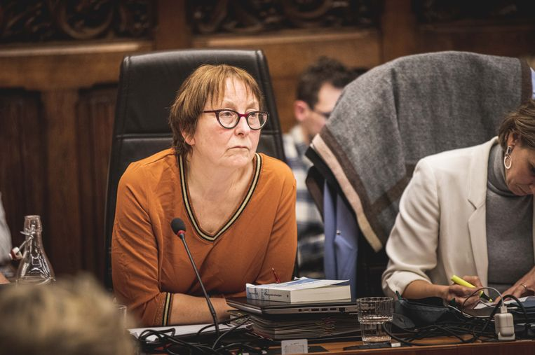 Tine Heyse tijdens de gemeenteraad maandag, waar de LEZ onder kritiek werd bedolven.