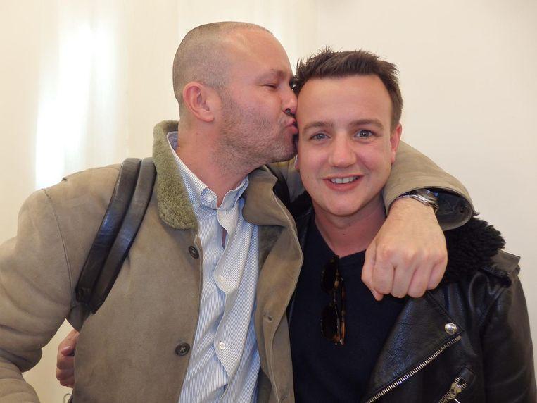 Ontwerper David Laport (r) en zijn partner Jordy Huinder. Beeld -