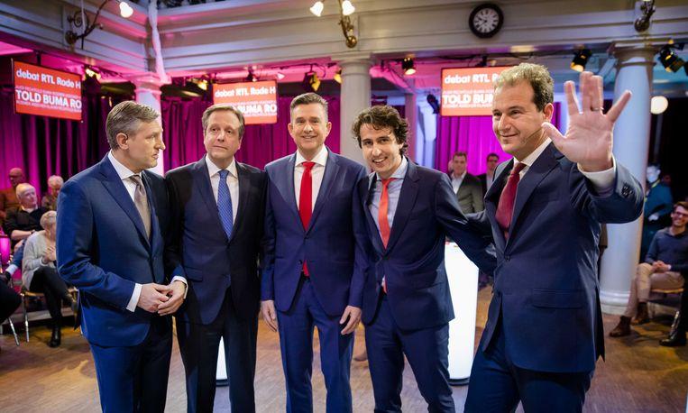De lijsttrekkers tijdens het RTL-debat van zondagavond. Beeld anp