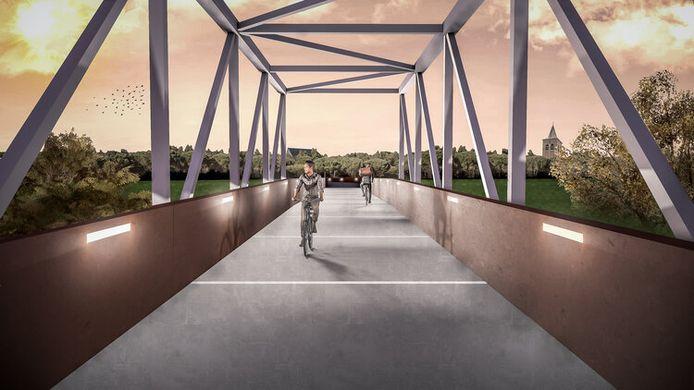 Deze imposante fietsbrug tussen Gent en Evergem moet volgend jaar klaar zijn, maar op het stuk fietspad dat de brug zal verbinden met Gent-Centrum is het nog even wachten.