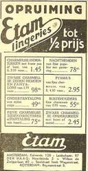 Advertentie van Etam, de winkel verkocht in de beginjaren voornamelijk kousen, lingerie en nachtkleding. De eerste winkel, in Amsterdam, werd in 1923 geopend.