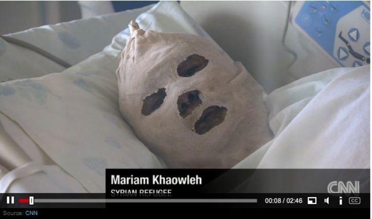 Mariam in het ziekenhuis. Beeld screenshot
