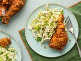 Fried chicken en coleslaw