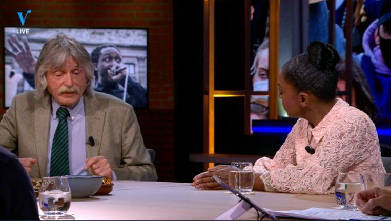 Johan Derksen in gesprek met advocaat Natacha Harlequin bij Veronica Inside Beeld Veronica