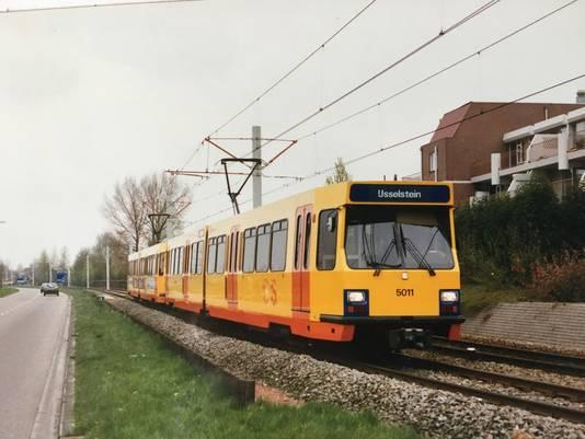De trams die in het begin van Nieuwegein naar Utrecht reden