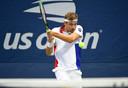 De Serviër Filip Krajinovic in actie op de US Open.