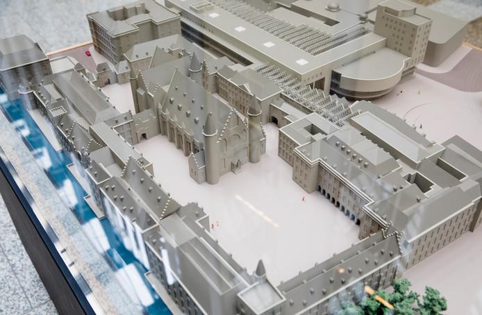 Een maquette van het Binnenhof uit 2018.