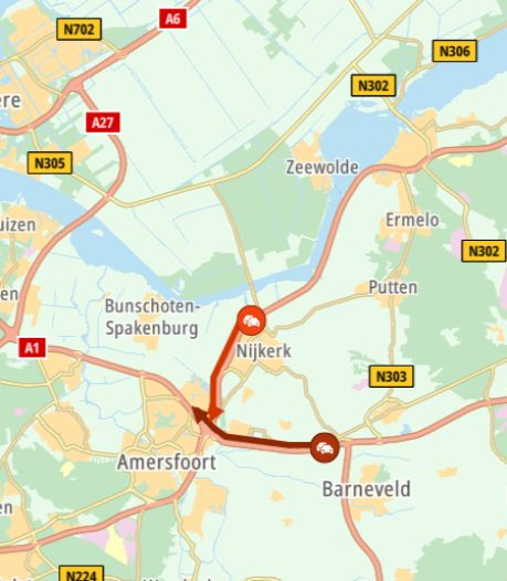 Rijstrook A1 tijdelijk afgesloten: verkeer uit Apeldoorn en Deventer richting Amsterdam en Utrecht moest omrijden
