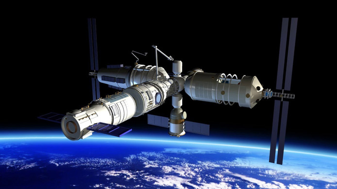 Het Chinese ruimtestation Tiangong- 1.