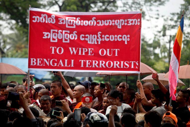 Boeddhistische betogers twee weken geleden in Rakhine. Beeld epa