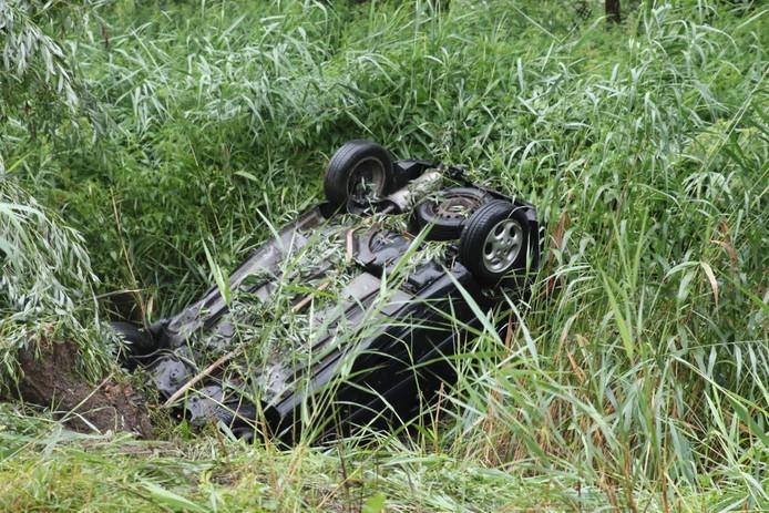 De auto van Ergün Sondaç belandde in een sloot.