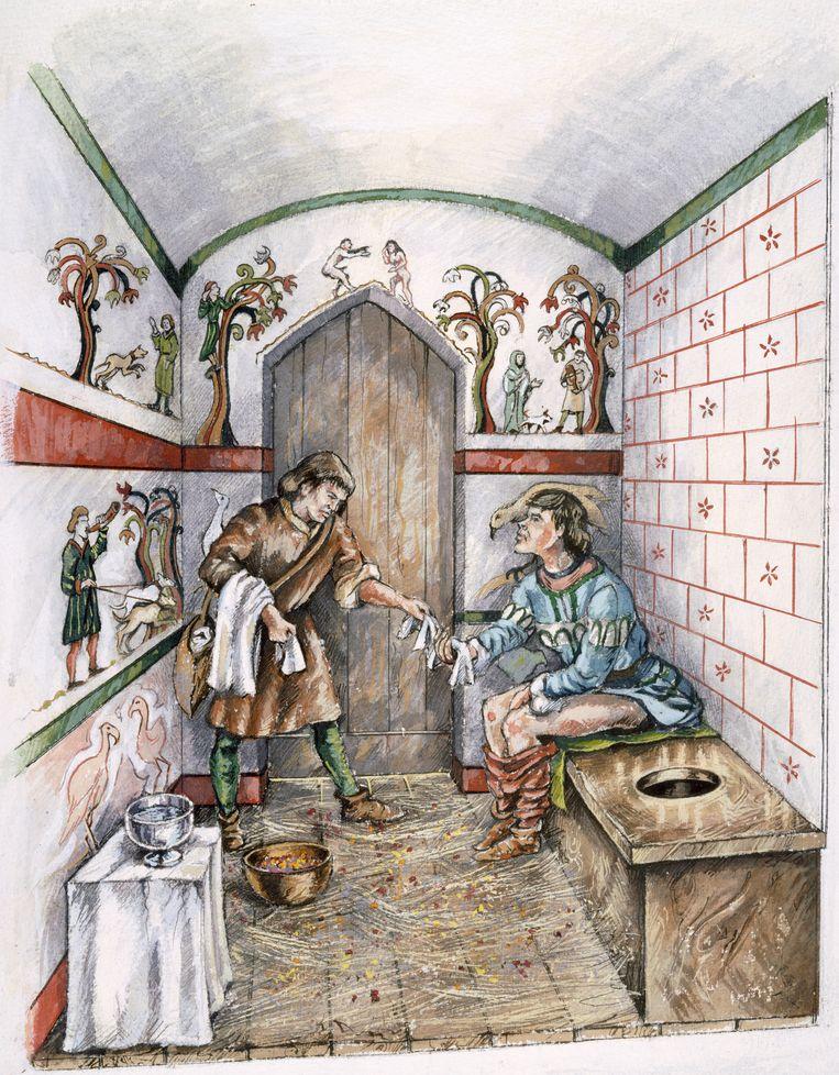 Impressie van hoe een middeleeuwse latrine eruit moet hebben gezien omstreeks 1350. Beeld Imageselect