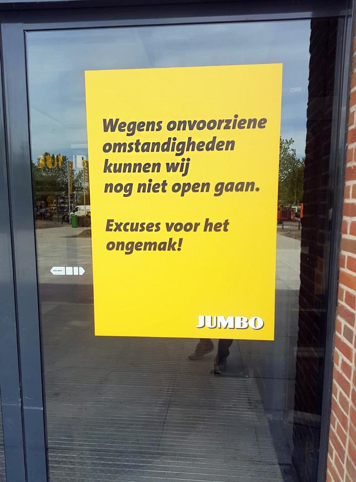 Jumbo in het entrepotgebouw nog niet open