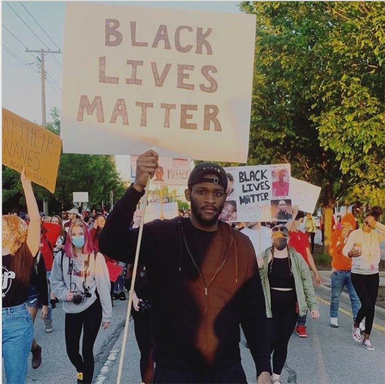 Michael Jordan Miller tijdens een demonstratie in Michigan City. Beeld TRBEELD