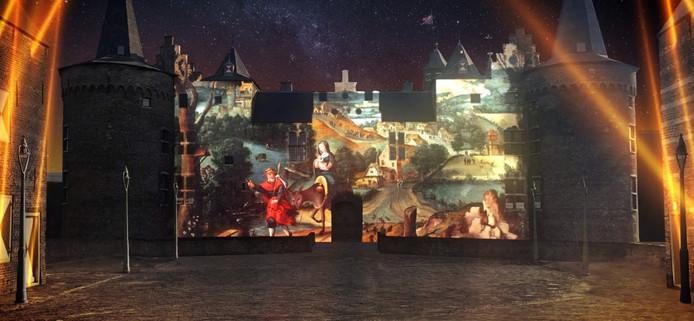Impressie van de lichtshow die tijdens het Lucas Gassel Jaar in Helmond moet plaatsvinden in de Kasteeltuin.